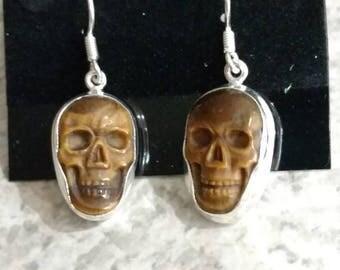 Tiger Eye Skull Earrings