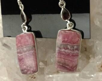 Rhodochrosite and Garnet Earrings