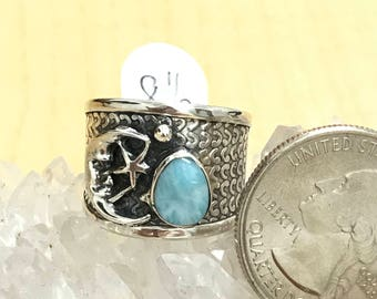 Silvery Moon Larimar Ring Size 8 1/2
