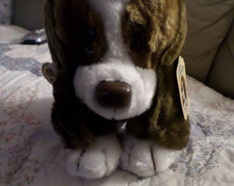 "Baxter the big shiny nose Dog pup brown & white Puppy eyes NWTS Russ Vintage plush 9"" version Basset Bashful Hound notice me"