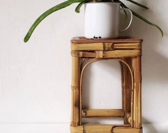 Vintage bamboo plant stand, small rustic plant stand