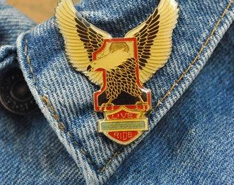 Vintage 1980's NOS 'Live To Ride' Eagle Biker Enamel Pin