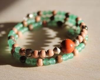 Natural Gemstone Matching Dog Charm and Bracelet Red Jasper and Green Aventurine, Smoky Quartz