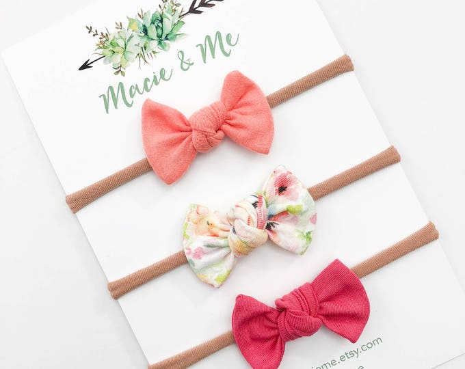 Peach, Floral, and Bright Pink Tied Bows / Macie & Me