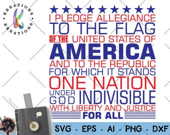 Patriotic Pledge svg American pledge svg usa pledge patriotic svg cutting cuttable file silhouette cricut instant download svg eps png dxf