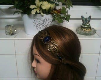 Shabby chain headband bronze,Royal blue Agate stone,royal blue beads/serretete ethnic avec pierre Agate bleu Roi, perles bleu et noir