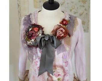 Boho Shrug Romantic Rose Cardigan Shabby Victorian Ruffle Bolero