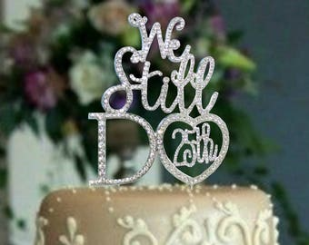 Quality Rhinestone 25th Anniversary Cake Topper. Vow Renwal cake decoration. 25th Anniversary party supplies