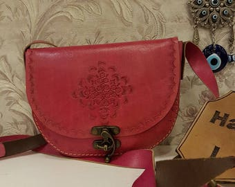 Pink, Crossbody, Leather, The pink Flower Code:115
