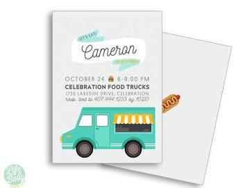 Food Truck Invitation | Food Truck Birthday | Tween Birthday Invitation | Carnival Invitation - 5x7 with reverse side