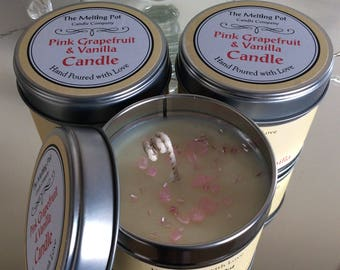 Hand poured Pink Grapefruit & Vanilla Organic Soy Tin Candle