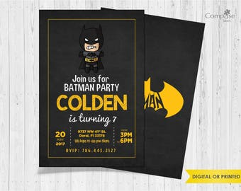 Batman - Invite your guests with personalized party invitations - Digital or Printed - Birthday Invitation - Boy Birthday Party