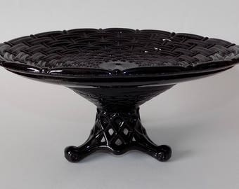 Antique, Victorian Sowerby Wickerwork Black Glass Pedestal Compote / Cake Stand