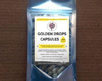 Golden Drops Lactation Supplement- Natural 400mg capsules- galactogenic, breastfeeding, breastmilk, supply