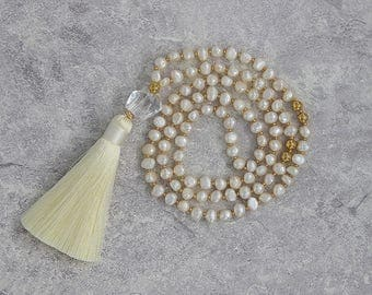 White pearl beads necklace Tassel pearl necklace crystal beads pendent necklace Gold beads necklace pearl long tassel necklace NL-059