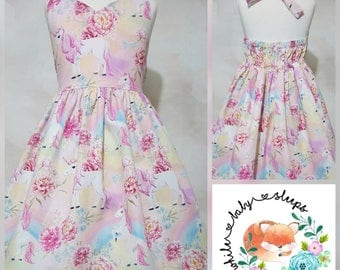 AVAILABLE NOW Rainbow Unicorns Sweetheart Halter Dress Size 4