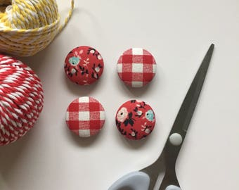 Floral Magnets, Magnets, Refrigerator Magnets, Red Kitchen Decor, White Board Magnets, Gifts For Teachers, Checkered Decor, Country Decor