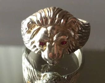 Lion head ring silver 925 womens or mens