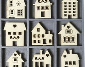 45 Small Wooden HOUSES Embellishments by cArt-Us (set 13)