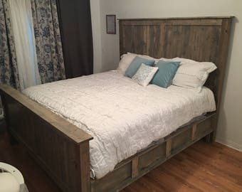 rustic bed frame handmade all wood customizable - Custom Bed Frames