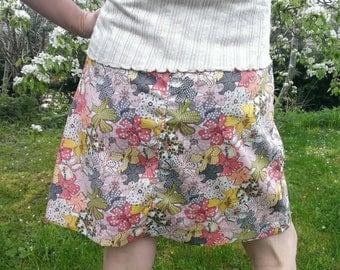 Straight skirt orange floral Liberty