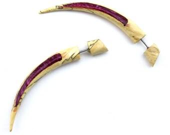 Tamarind Wooden Taper with Magenta Resin Inlay Fake Gauges Earrings