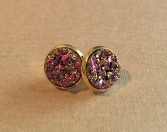 Pink-Orange Druzy Earrings - Gold Setting