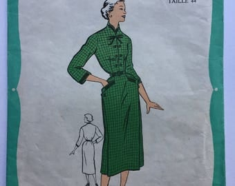 "UNOPENED Fabulous 50's french vintage sewing pattern : Woman shift dress with pockets- size 16 taille 44 ""Patrons Favoris 1.10.151"""