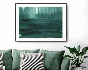 Printable Art,  Art Poster, Digital Download, Wall Decor, teal and white, modern abstract, scandinavian art, horizontal abstract, large art