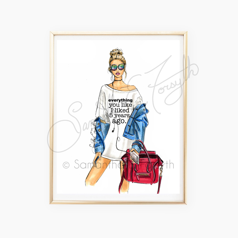 Fashion Wall Art Adorable Fashion Illustration Fashion Illustration Print Chic Print Design Inspiration