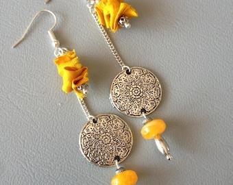Earrings ethnic chic, long amber saffron silk and real