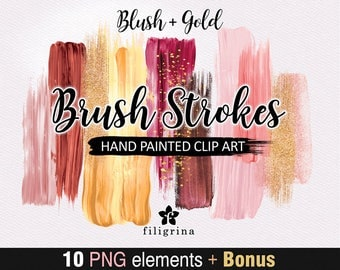 Blush Gold BRUSH STROKES Clip Art. 10 abstract fashion elements, bokeh, sparkles, paint texture, make up, cosmetics palette. Read about use