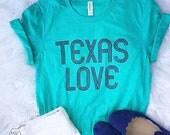 Texas Love // UNISEX // Bella Canvas Heather Sea Green // Southern // Graphic Tee // CREW NECK