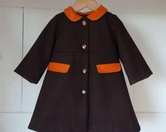 Coats girl 2 years wool chocolate and orange Velvet