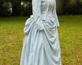 1880s Victorian Bustle Dress, 3 Piece Suit. Powder Blue faille.