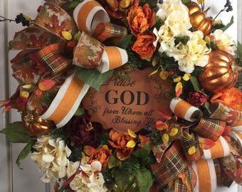 Praise God From Whom All Blessings Flow Fall Door Wreath