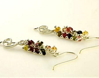 Sterling Silver Music Note Charm, Colorful Quartz Cluster Earrings, Rainbow Quartz Cluster Earrings
