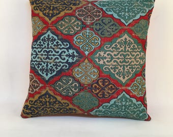 Ottoman designed cushions, 16x16 inc. Natural fabrics (linen and cotton). Tapestry fabrics.