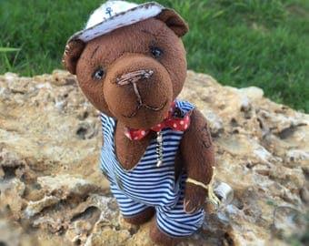 Teddy bear Bob the sailor. Stuffed soft toy. Plush teddy bear