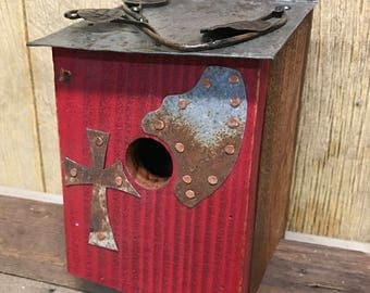 Rustic folk art bluebird birdhouse, vintage, antique, recycled, re-purposed