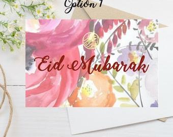 Eid Mubarak - Money Holder - Bismillah - Printable - DIY Envelope - Floral Print