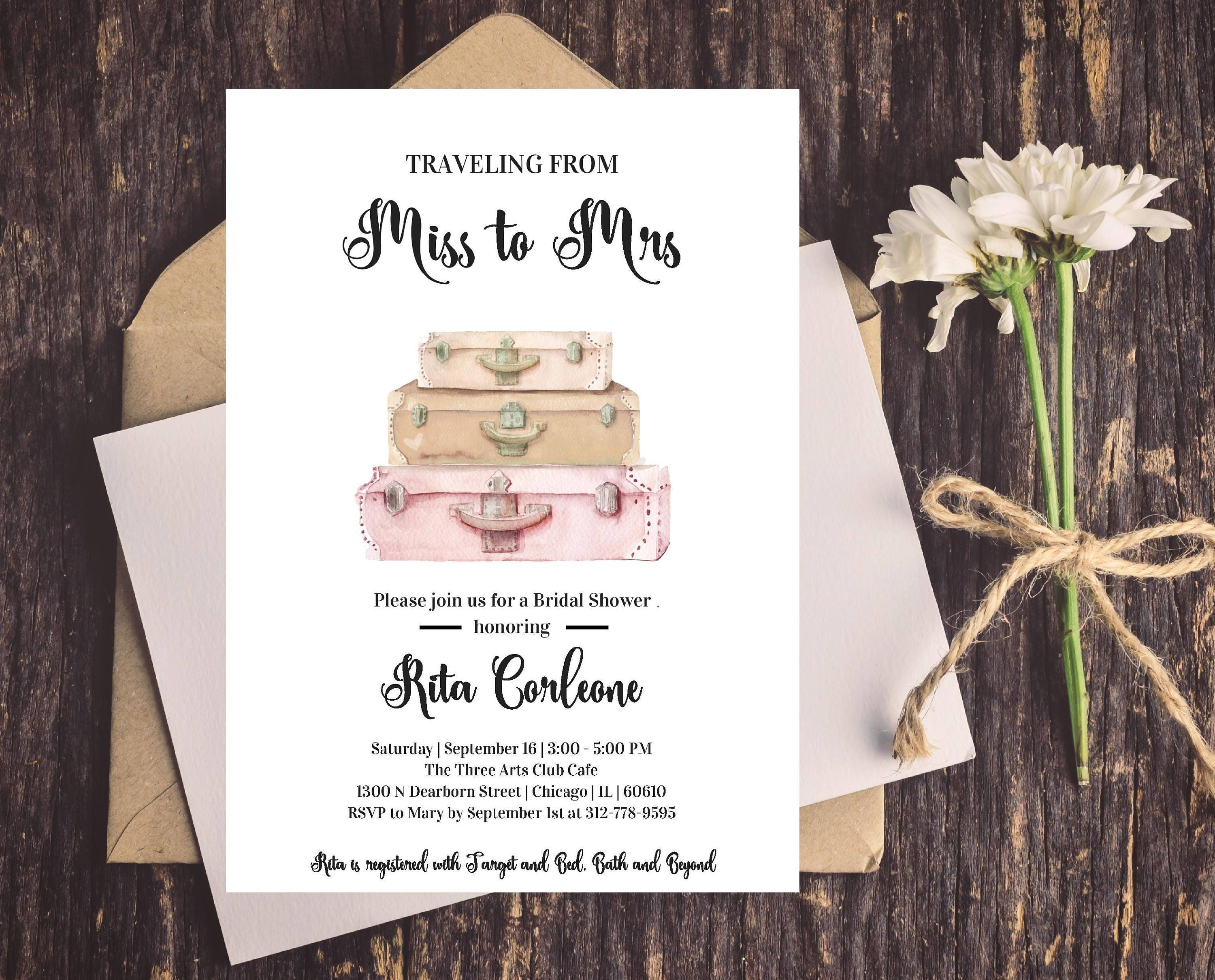 famous traveling from miss to mrs theme bridal shower invitations wx68