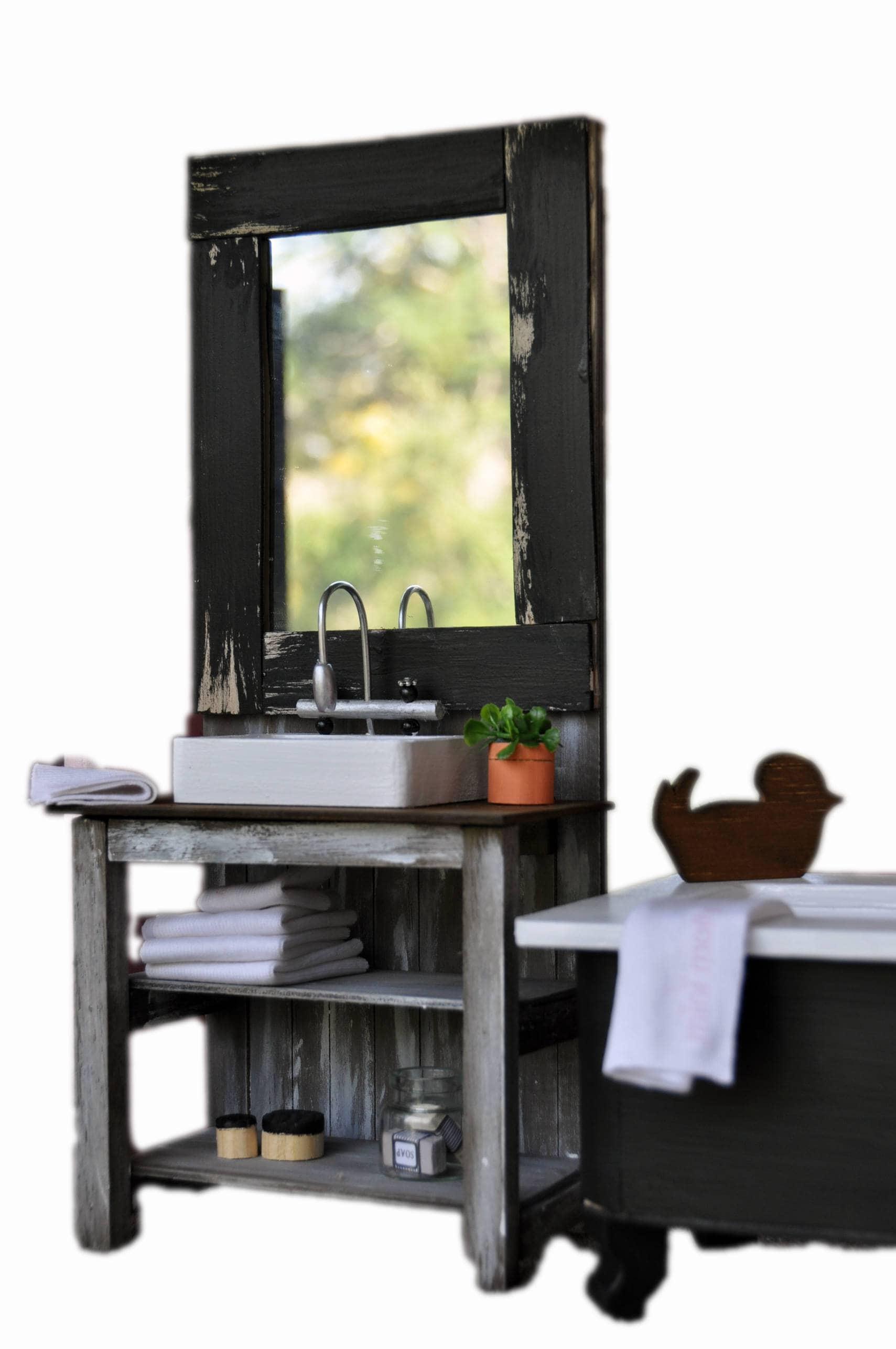 MiniMolly Dollhouse Furniture, Barbie Size Bathroom Set, French Provincial  Style Bath Vanity Toliet 1:6 Scale