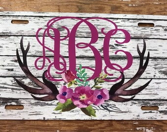 monogram license plate antlers wood look distressed car tag personalized monogrammed