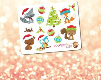 Winter Animals / Christmas / Holiday Mini Planner Sticker Sheet
