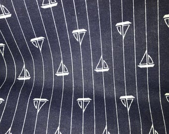 3 yards Blue Fabric with white sail boats