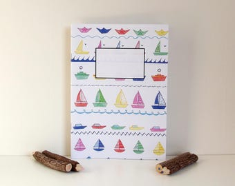 Notebook  Little Boats Pattern - A5 Noteboek - Lined Notebook - Notebook Recycled Paper.