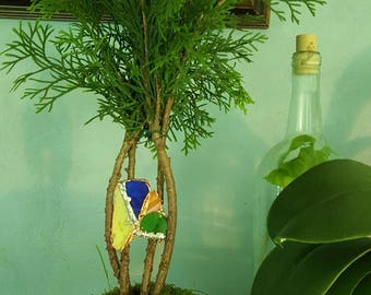 Arborvitae Bonsai with stained glass accent