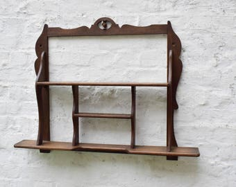 Antique Kitchen Rack   Rustic Wood Spice Rack Wall Mounted   French  Farmhouse Hanging Shelving Rack