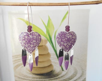 Purple ivory heart earrings